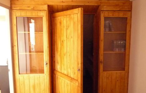 Inloopkast van steigerhout met boekenkasten