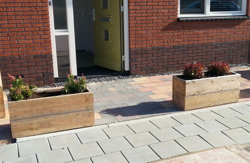 Plantenbakken steigerhout balkon terras jorwood furniture - Dekzeil terras balkon ...